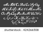 calligraphy alphabet typeset... | Shutterstock .eps vector #424266508