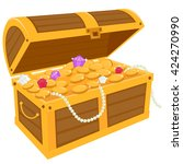 vector illustration of a wooden ... | Shutterstock .eps vector #424270990