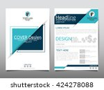 Blue triangle annual report brochure flyer design template vector, Leaflet cover presentation abstract geometric background, layout in A4 size | Shutterstock vector #424278088