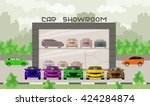 car showroom illustration. car... | Shutterstock .eps vector #424284874