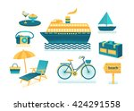 set of vector summer with... | Shutterstock .eps vector #424291558