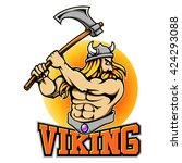 vector mascot of viking with... | Shutterstock .eps vector #424293088