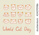 world cat day card with funny... | Shutterstock .eps vector #424295986