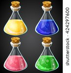 set of vector cartoon potion... | Shutterstock .eps vector #424297600