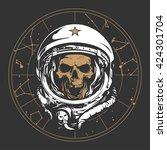 skull astronaut illustration | Shutterstock .eps vector #424301704