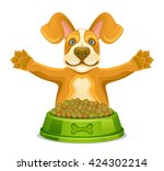 dog with feed | Shutterstock .eps vector #424302214
