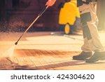 residential roadway brick... | Shutterstock . vector #424304620