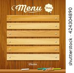 menu wood board with pastel... | Shutterstock .eps vector #424304890