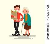volunteer helping grandmother... | Shutterstock .eps vector #424317736