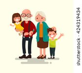 grandparents with their... | Shutterstock .eps vector #424319434