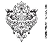 Vintage baroque ornament. Retro pattern antique style acanthus. Decorative design element filigree calligraphy vector. | Shutterstock vector #424322488