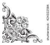 vintage baroque ornament. retro ... | Shutterstock .eps vector #424322584
