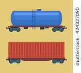 boxcar. freight railroad car.... | Shutterstock .eps vector #424327090
