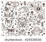 decorative ornamental woodland... | Shutterstock .eps vector #424328530
