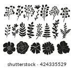 hand drawn floral elements set. ... | Shutterstock . vector #424335529