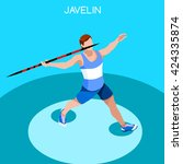 athletics javelin sportsman... | Shutterstock .eps vector #424335874