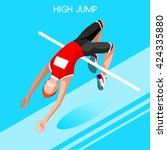 athletics high jump sportsman... | Shutterstock .eps vector #424335880