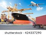 container cargo freight ship... | Shutterstock . vector #424337290