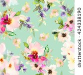 seamless pattern with flowers... | Shutterstock . vector #424338190