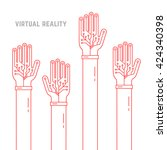 virtual reality with thin line...