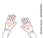 linear virtual gloves on hands. ...