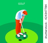 3d isometric sport golf player... | Shutterstock .eps vector #424347784
