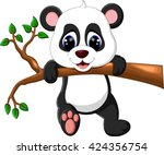 illustration of cute baby panda ... | Shutterstock . vector #424356754