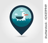 seagull vector pin map icon.... | Shutterstock .eps vector #424359949