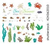 vector set of underwater sea... | Shutterstock .eps vector #424362010