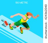 running 100 metre dash... | Shutterstock .eps vector #424362040