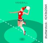 handball sportswoman games icon ... | Shutterstock .eps vector #424362064