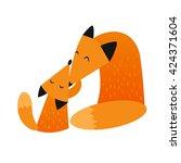 mother fox and baby fox   Shutterstock .eps vector #424371604