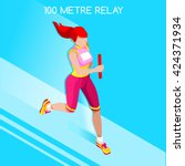 running woman female relay... | Shutterstock .eps vector #424371934