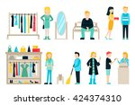 vector shopping and shipping... | Shutterstock .eps vector #424374310