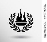 torch with laurel wreath fire...   Shutterstock .eps vector #424375486