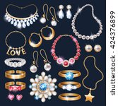 realistic jewelry accessories... | Shutterstock .eps vector #424376899