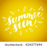hand drawn summer card.... | Shutterstock . vector #424377694