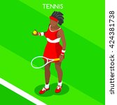 tennis player sportswoman games ... | Shutterstock .eps vector #424381738