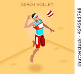 beach volleyball male player... | Shutterstock .eps vector #424381768