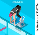 swimmer athlete start position... | Shutterstock .eps vector #424381774