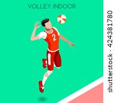 volleyball player sportsman... | Shutterstock .eps vector #424381780