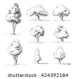tree sketches set | Shutterstock .eps vector #424392184