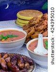 bowl of moroccan harira soup...   Shutterstock . vector #424395010