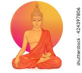 sitting buddha over orange... | Shutterstock .eps vector #424397806