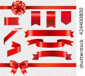 red bows with ribbons set ... | Shutterstock .eps vector #424400800
