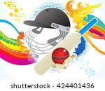 abstract artistic cricket... | Shutterstock .eps vector #424401436