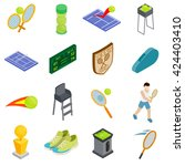 tennis icons set. isometric 3d... | Shutterstock .eps vector #424403410