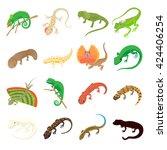 Lizard Set In Cartoon Style....