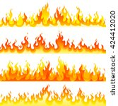 red burning fire flame logo set ... | Shutterstock .eps vector #424412020
