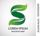 green eco letter s logo...